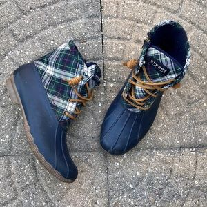 Sperry Navy and Green Plaid Duckboot